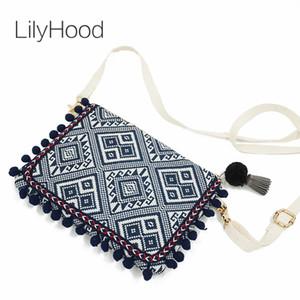 Hombro LilyHood del bolso de embrague de las mujeres de Boho Chic gitano bohemio azteca tribal Ibiza algodón Pom Pom lindo Pequeño bolso de la aleta de la cremallera monedero