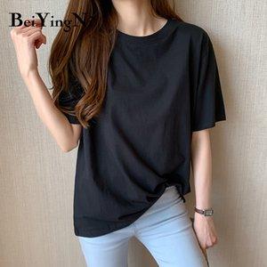 Beiyingni Women Plus Size Casual T Shirt Cotton Loose Korean Hipster Harajuku Tshirt Female M-4XL Basic Vintage Tops Shirts Lady