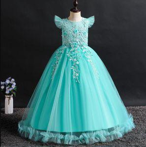 Europe and the United States children's wear girls solid color dress big children flower petal long skirt children's princess skirt ins chil