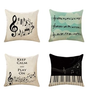 Throw Pillow Cover 18 x 18 Inches Square Letter Paino Pillow Cover Music Note Cotton Linen Decorative Throw Pillow Case Cushion Cover