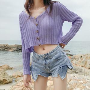 Casaco feminino Outono Knitwear por Mulheres senhoras Short Cardigan V Neck manga comprida de algodão colhido Cardigan Sweaters Fina