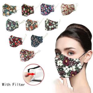 In stock DHL Adatti cotone stampato respiratore antipolvere disegno faccia può essere lavato con acqua ed inserito con maschere facciali filtri