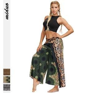Una generación de Nueve pelo de la cola de impresión digital Hierba verano de las mujeres de la yoga pantalones ocasionales de los deportes de Split Wide Pantalón de pierna Nuevos Productos