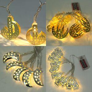 Eid al-Fitr Luz LED de Cordas de alimentação 10 Pisca-Pisca LED islâmico Eid Ramadan decoração dourada Moon Star Lanterna Decoração Ramadan partido