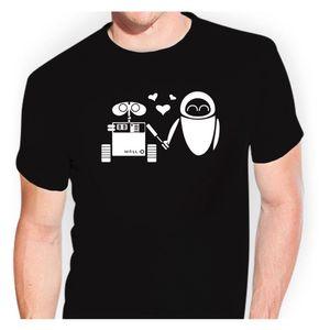 Wall-E und Eva tsf0320 T-Shirt Sticker Bomb Aufkleber Unisex T Shirt Tops Camisetas Hombre Cotton Short Sleeves Tee Shirt Homme