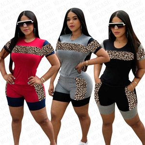 Women Tracksuit Design Leopard Printing Patchwork Color Short Sleeve T Shirt Shorts Two Piece Set Outfits Fashion Sports Suit S-3XL D72205