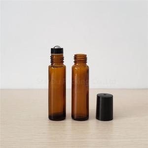 2pcs 10ml ambre rouleau sur la bouteille, la bouteille de 10cc ambre rollon d'huile essentielle, petit récipient en verre à rouleaux