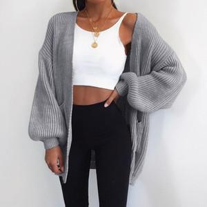Le donne di autunno di modo Cardigan Solid maglieria femminile maglioni causale Plus Size cappotto del rivestimento Y200720 V-Neck Streetwear Jumper