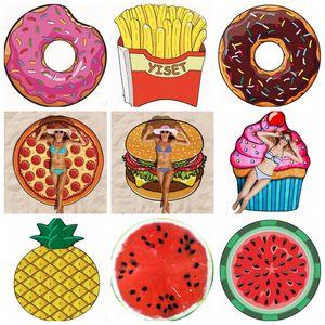 Beach Towel Fruits Polyester Beach Mattress Personalized Bikni Cover Ups Table Cloth Yoga Mats Donut Pizza Pineapple 13 Designs DHB579