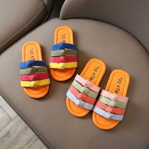 NTNwT Children's slippers Children's slippers and Summer 2020 Korean fashion girls colorful thin belt outdoor sandals soft bottom sandals st