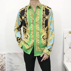 Commercio all'ingrosso 2020 marca famosa abiti di design uomini galassia barocco drago d'oro fiore della stampa del manicotto lungo degli uomini 3d stampa Camicia Medusa