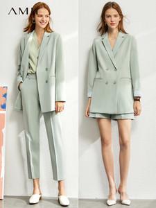 Amii Минимализм костюма женщины 2020 весной новые Твердая пиджак, жилет, высокие штаны талии для женщин 12060909 CX200715