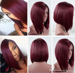 9a Grade Burgundy Bob Full Lace Wig Virgin Malaysian Hair Silky Straight Natural Color Long Bob Cut Lace Front Wig Free Shipping