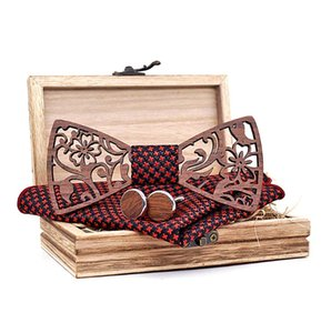 Wine Red Wooden Wood Hollow Carve Bow Tie Set For Men Pocket Square Cufflinks Floral Brooch With Wood Box Bowtie Accessory Ties