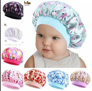 Милые дети сатин капота спальные колпачки новый мягкий шелк широкополосный ночной шапки для натуральных волос подростки малыш ребенок ребенок оптом