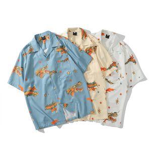 Mens Китай Стиль Vintage рубашки лето New Гавайские рубашки с коротким рукавом Повседневная Dragon Printed Бич Рубашки Мужской