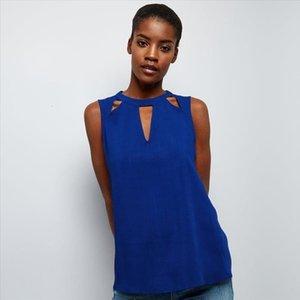 Seksi blusas Femininas şifon Bayan Giyim Şık Vintage Dişil Gömlekler Plus Size Zsiibo için Sleeveles Bluz Tops