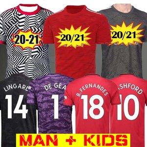 Manchester 2020 2021 RASHFORD BRUNO FERNANDES Jersey di calcio MARZIALI JAMES pullover di calcio camice uniti UTD 20 21 Man + bambini Kit de GEA