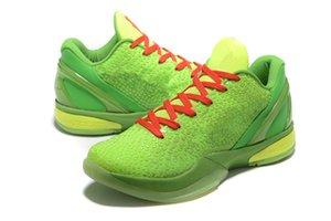أسود مامبا السادس 6 غرينش أحذية رجالية رياضية مامبا 6 الوردي الأخضر أحذية كرة السلة السوداء مع مربع التوصيل المجاني حجم US7-US12