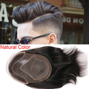 2020 Mens TOUPEE HAIR PU con parrucche in pizzo francese per uomini European Remy Human Human Systems Systems Systems Parrucchino 10x8inch