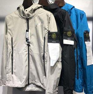 2020 outono e inverno nova jaqueta com zíper de pedra 19FW Ilha dos homens casuais encapuzados à prova de vento jaqueta corta-vento impermeável
