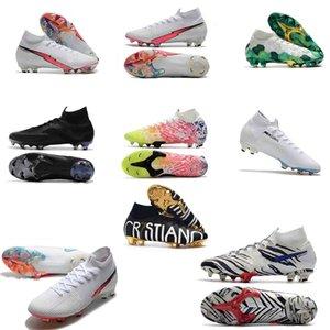 chuteiras crampons originais CR7 13 Elite 360 Mercurial Superfly V Sapatos FG Futebol C Ronaldo 7 Nuovo Branco Pacote Mens Futebol Grampos