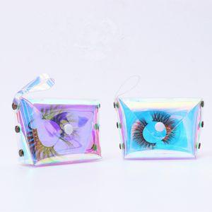 3D Ресницы Упаковка Коробки Лазерная Lash сумка Lashes Пакет для хранения Случаи макияж Косметические Дело норка Прозрачный Ресницы сумка GGA3555-3