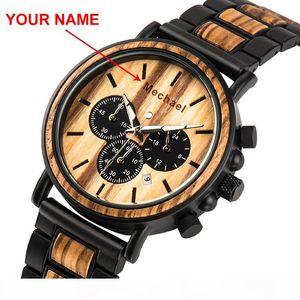Relogio Masculino BOBO BIRD Wood Personalized Watch Men Chronograph Watches Custom Gift for Him Dropshipping