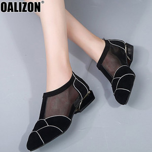 Autumn Ladies Women Fashion Gauze Mesh Air Female Casual Pointed Toe Low Chunky Heels Pumps Female Mujer Zapato Slim Shoes R489