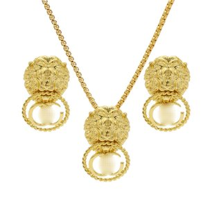 Vintage Lion Head Pendant Necklace G Letters Designer Earrings Luxury Jewelry Sets Two-Piece Set Women Gift For Party Anniversary