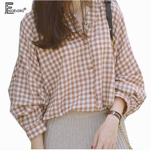 Casual Loose Top Plus Size Clothes Women Fashion Long Sleeve Blouse Temperament Lady Vintage Plaid Top Long Boyfriend Shirt 1201