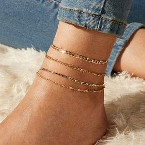 Bohémiennes Multilayer alliage Creative Set Rétro Anklet simple chaîne de pied Ornement de pied de la chaîne de bijoux mode 4pcs / set