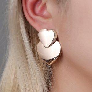 Yobest Vintage Metal Dangle Earrings For Women Gold Color Double Heart Statement Earrings Female Boho Brincos Wedding Jewelry