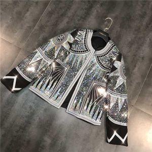 Frauen glänzende Jacke 2020 Silber Pailletten Geometric Bomber Jacken O Ansatz Nationalität Embroid Mantel Freizeit Ober Damen Kleidung