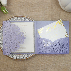 Violets Wedding Invitation DIY Burgundy Ivory Blue Flower Print Laser Cut Trifold Pocket Engagement Invitations Sweet 15 Cards