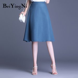 Beiyingni 2019 New Arrival High Waist Skirt Womens Solid Color Office Work Wear Fashion Lady Skirts Elegant Soft Faldas OL Saias T200712