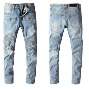 Fashion Mens Jeans Pants 20s Casual Solid Jeans with Hole High Quality Plus Size Mens Pants Tops Clothing 2 Colors