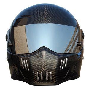 Fibre de carbone Casque de moto Full Face Karting voiture de course Casque Hommes Vintage Moto Motorcross Full Face Anti-buée