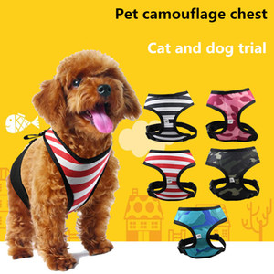 Dog harness pet dog chest strap fashion adjustable dog puppies chest strap vest harness harness camouflage stripes Free shipping