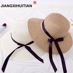 jiangxihuitian أزياء الصيف سترو قبعة المرأة طوي السيدات على نطاق واسع كبير بريم الشريط bowBeach قبعة الإناث أحد قبعة