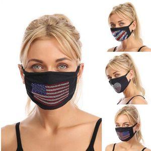3 Styles Trump Cotton Face Mask American Flag Environmental Protection Color Rhinestone Flash Drill Dustproof Reusable Mask YYA337