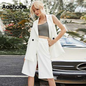 Aachoae женщин Мода Solid Two Piece Set 2020 Офис Wear Двойной Брестед Blazer Жилет с прогулочной Сыпучие Half Wide штанину