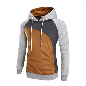 Casual Thicken Hoodie Sweatshirts Long Sleeved Slim Pocket Plus Size Three Color Block Stitching Spring Autumn Hoodie Men Colorblock