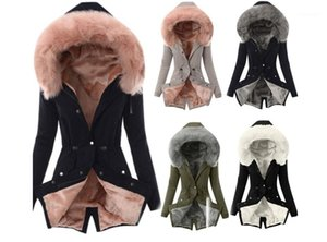 Thick Cotton Plus Size Femme Outerwear Winter Womens Coats Fur Collar Solid Color Long Sleeve Ladies Jackets Casual
