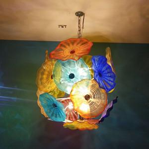Decorative Blown Glass Chandelier Pendant Lights 32 Inches High 110-220V Range American Style Murano Glass Flower Plates Chain Pendant