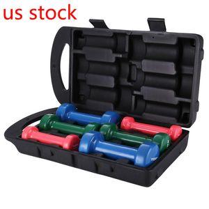 US Stock !Authentic dipped plastic dumbbell multi-color gift Box containing dumbbell rehabilitation exercise equipment for men, women