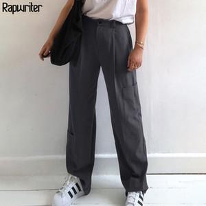 Rapwriter Streetwear High Waist Suit Pants Women 2020 korean Straight Loose Trousers harajuku Pants Pockets femme capris bottom
