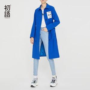 Kadınlar STRIGHT Bayanlar Kış Trençkot Katı Nakış Paltolar Automne 2020 Femme İçin Toyouth Mavi Uzun Trençkot