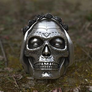 Unico regalo Goth Santa Muerte Anello Rose Crown Zucchero Skull anelli dell'acciaio inossidabile delle donne punk del motociclista Gioielli