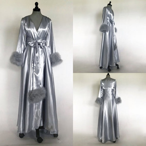 Silver Grey Faux Fur Women Bathrobe Nightgown Sleepwear Bridal Robe Bridesmaid Bride Gowns petites Plus Size Long Sleeves